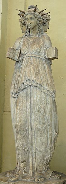 The Hecate Chiaramonti, a Roman sculpture of triple Hecate, after a Hellenistic original (Museo Chiaramonti, Vatican Museums)