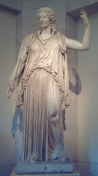 "Statue of DEMETER of the ""Madrid-Capitol"" type, at the Prado Museum in Madrid (Spain). Roman copy, sculpted in marble in the early 3rd century CE, of a Greek original made for the Eleusis sanctuary circa 425-420 BC. Head and arms are Baroque addings."