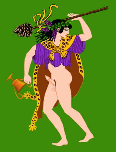 "First, I drew this one, but there were just so many questions. Dionysos, why are you naked from the waist down? You can't just run around wearing nothing but a ripped chiton and a leopard skin. Says Dionysos, ""The hell I can't!"""