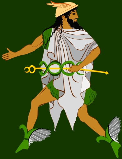 Hermes with Kerykeion, winged hat, chlamys and winged sandals.