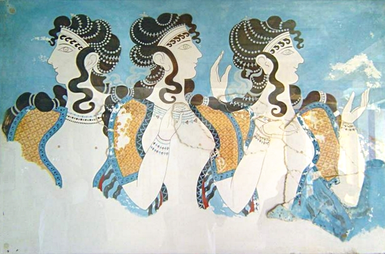 Fresco from Knossos palace showing three women who were possibly Queens. Photo credit: Cavorite