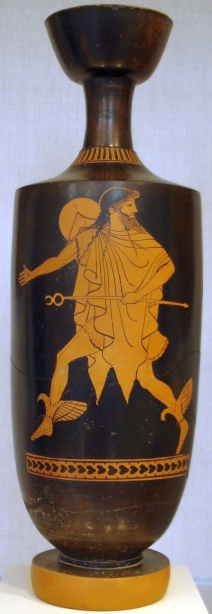 Museum Collection:  Metropolitan Museum, New York City, USA  Catalogue Number:  New York 25.78.2  Beazley Archive Number: 203182 Ware: Attic Red Figure  Shape: Lekythos  Painter: Attributed to the Tithonus Painter  Date: ca 500 - 450 BC  Period: Early Classical