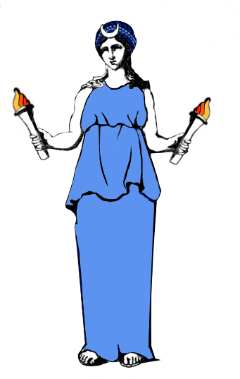 "Hekate as a ""maiden with horns"" as described in the Greek Magical Papyri."